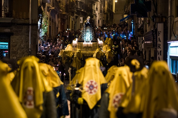 "March 25, 2016 - Pamplona, Navarra, Spain: Masked penitents take part in the procession of the ""Hermandad de La Pasion'' brotherhood carring ""La Virgen de la Dolorosa"" during Holy Week in Pamplona. (Pablo Lasaosa/Polaris)"