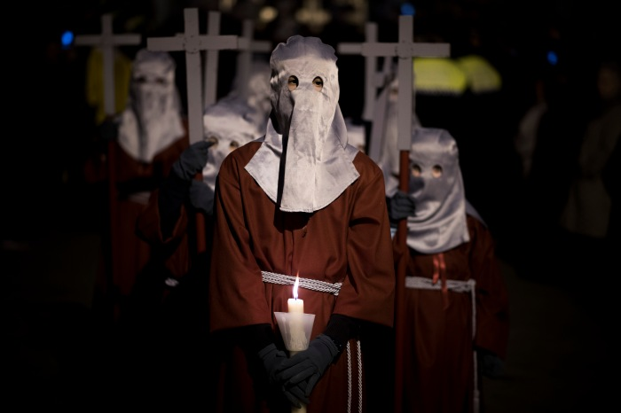 "March 25, 2016 - Pamplona, Navarra, Spain: Masked penitents take part in the procession of the ""Hermandad de La Pasion'' brotherhood during Holy Week in Pamplona. (Pablo Lasaosa/Polaris)"